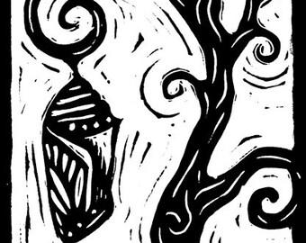 Chrysalis hanging from crooked tree - linocut print