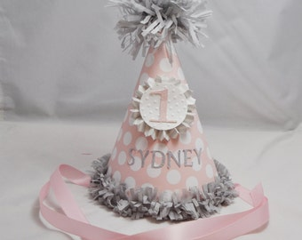 Pink and Grey 1st Birthday Party Hat Girl- Personalized