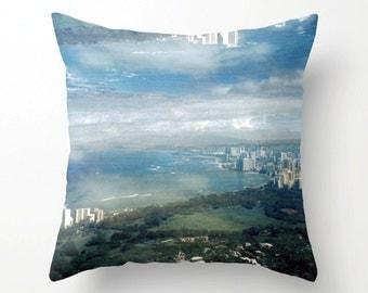 decorative pillow cover. accent pillow. surreal photo throw pillow cover. waikiki honolulu diamond head hawaii art. dreamy cloud photo decor