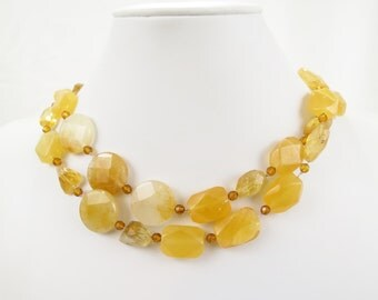 Lavish Long Amber Gold Citrine Nugget Stone Christian Necklace - Hand Knotted Silk, Golden Quartz, Gold Filled Chain - Oil Collection