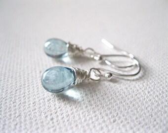 Ice Blue Teardrop Earrings, Light Blue Petite Briolette Drop Wire Wrapped Contemporary Stylish Gift Idea Wedding UK Seller