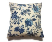 Decorative Pillow Cover Navy Blue Denim Blue Natural White Taupe Ecru Floral Design Accent Toss Throw Same Fabric Front/Back 18x18 inch x