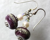 IMJ Colorful Lampwork and Silver Textured Earrings
