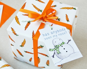 Christmas Carrot Wrapping Paper Set - Festive Gift Wrap - Quirky Eco Friendly Paper - Children's Christmas Wrap