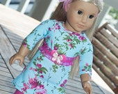 """American Girl clothes 18"""" doll blue aqua pink knit dress leggings belt and headband 4 pc outfit  jersey dress floral dress birthday gift"""
