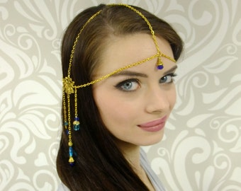 Gold, Silver or Antique Brass Headchain, Mucha Headdress, Boho Headchain, Art Nouveau Headpiece, Gold and Blue Circlet, Renaissance, Cosplay