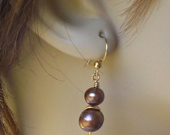 Rich Chocolate Brown Pearl and Gold Earrings