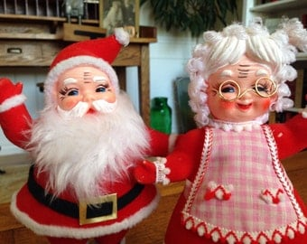 30% OFF SALE! Ho Ho Ho! Cute 1960's Santa & Mrs. Clause Christmas figures