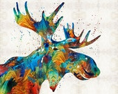 Colorful Moose Animal Art PRINT from Painting Big Game Animal Antlers Rainbow CANVAS Ready To Hang Large Artwork Jewel Colors Primary Green
