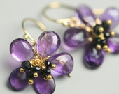Amethyst Flower Earrings with Black Spinel Clusters Amethyst jewelry