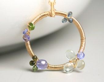 Aquamarine and Tanzanite Floral Wreath Necklace . Stone Necklace