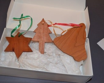 set of wooden tree ornaments