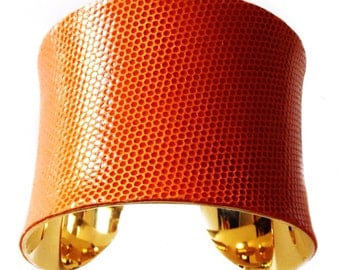 Pumpkin Orange Honeycomb Embossed Leather Gold Lined Cuff Bracelet - by UNEARTHED