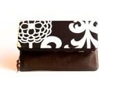 Leather clutch purse, Clutch Purse, clutch bag fold over leather clutch bag, ipad case, black white brown clutch