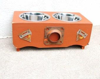 Rustic Dog Feeder, Elevated Dog Feeder, Vintage Rustic Farm Accents Custom Feeder, Pet Furniture