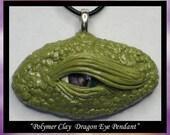 Fantasy Art sculpture Green Dragon Eye handmade pendant ooak polymer clay wearable art