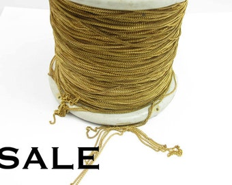 Vintage Yellow Brass Curb Chain - soldered (12 Feet) (CP232) SALE - 50% off