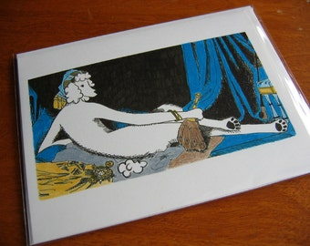 La Grande Poodle Odalisque - Humorous Greeting Card