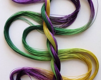 "Size 40 ""Mardi Gras"" hand dyed thread 6 cord cordonnet tatting crochet cotton"