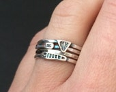 stacking rings - sterling silver rings - tribal rings - stackers - arrow rings- unique rings - boho rings - bohemian rings - stacker set