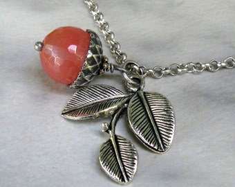 Gemstone Acorn Leaf Necklace, Antique Silver, Watermelon Quartz, Custom Style and Length... Nature Inspired Jewelry