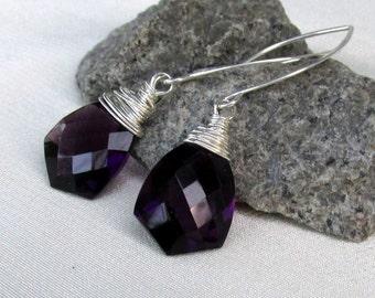 Fancy Cut Purple Quartz Earrings, Sterling Silver Wire Wrapped AAA Quartz Briolette Gemstones, Luxe Jewelry Gift for Her