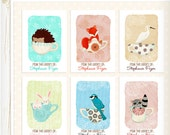Personalized Bookplates Little Forest Teacups Set of 18 animals stickers labels teacups whimsical childrens nursery art kids cute