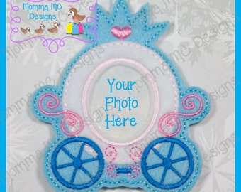 Princess Carriage Photo Frame Ornament / Clippy Keeper Felt Embroidery Design