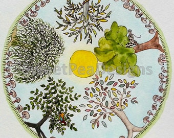 Trees Mandala watercolor and ink original painting
