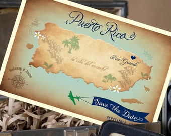Vintage Map Postcard Save the Date (Puerto Rico) - Design Fee