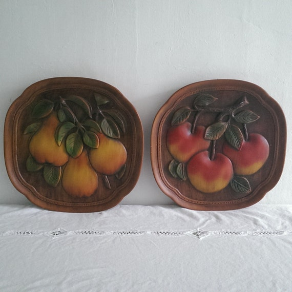 Vintage Fruit Wall Decor : Vintage fruit chalkware plaques peaches and by studioseaglass