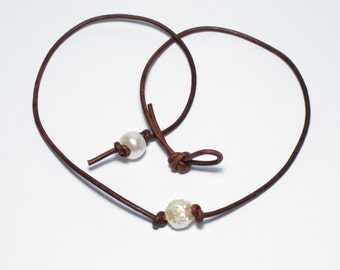 Druzy Freshwater Pearl Leather Choker Boho Single Pearl ...