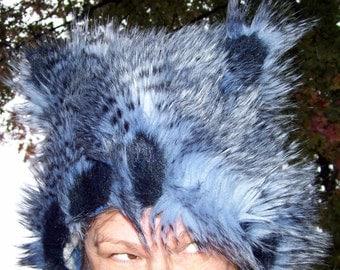 Furry Owl Hat Ears Black Blue Feather Fur Stripe Adult Bird Costume Fetish Ear Wig Fur Shaman Hat