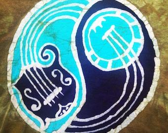 Batik Mandolin Banjo Yin Yang T Shirt- Youth Size L or Mens S