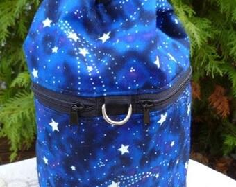 Knitting bag, drawstring bag, knitting in public bag, small project bag, Glow in the Dark Stars, Kipster
