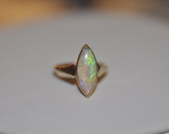 Antique 15ct Yellow Gold Bezel Set Marquise Opal with Millgrain Details and Open Back
