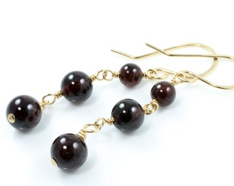Winter Berry Garnet Gemstone Gold Earrings January Birthstone