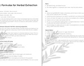 Formulas for Herbal Extraction - Two Page Document