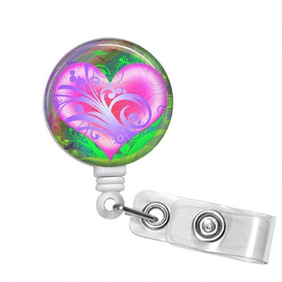 Choose Your Color WATERCOLOR HEART Retractable Badge Reel