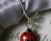 Red Ladybug Necklace with Sterling chain