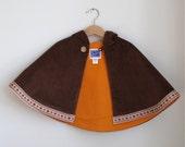 Boys or Girls Brown Corduroy Warm Hooded Cape  - Size 6 - 12 Months - Children's Cape, Cloak, Coat, Jacket, Hoodie, Warm Winter Outerwear