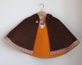 Boys or Girls Brown Corduroy Warm Hooded Cape  - Size 6 - 12 Months - Children's Cape, Cloak, Coat, Jacket, Hoodie, Warm Winter Outerwear