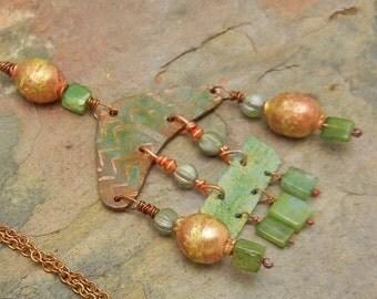 Rustic Tribal Acid Etched Copper Brass Peruvian Opal Necklace Pendant Handmade Gypsy Boho - SRA Artisan jewelry
