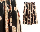 Sz S Abstract Print Full Pleated Midi Skirt - Women's Vintage High Waisted Geometric Black, Tan, and Brown Below the Knee Skirt - Small
