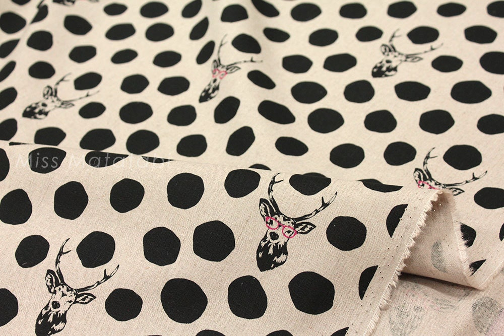 japonais tissu kokka echino cerf lunettes quart gras noir. Black Bedroom Furniture Sets. Home Design Ideas