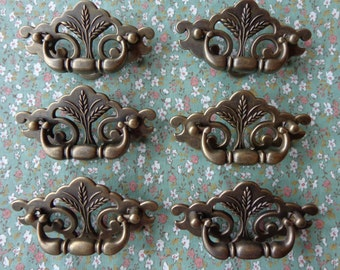 Set of 6 Brand New Antique Brass Wheat Drawer Swing Pulls Handles