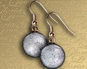 Dichroic Fused Glass Earrings - Silver - ER465