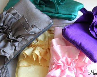 SET OF 10 Bridesmaid Clutches- Party Favor Bag in Ivory Yellow Purple Pink White Yellow Kelly Green And More