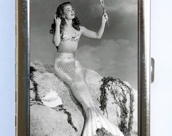50s pinup pin up Mermaid Cigarette Case Wallet Business Card Holder retro rockabilly