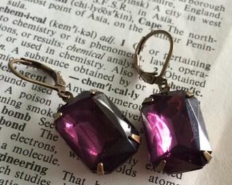 Amethyst rhinestone earrings, February Birthstone Earrings, estate style jewelry, purple earrings, octagon stone